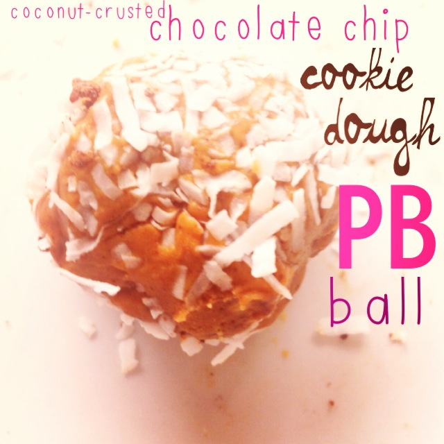 Quest Coconut Crusted Chocolate Chip Cookie Dough Peanut Butter Balls.