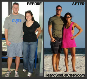 """Eating clean and working out changed their lives. Scott went from a waist size of 38"""" to 32"""" and Whitney went from a size 10 to a size 2/4."""