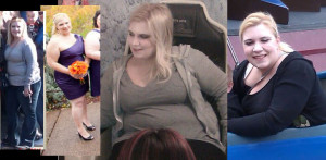 Emily before losing 85. lbs.