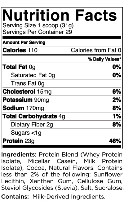 Quest Nutrition Chocolate Protein Powder Nutrition Label