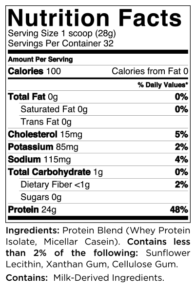 Quest Nutrition Multi Purpose Mix Protein Powder Nutrition Label