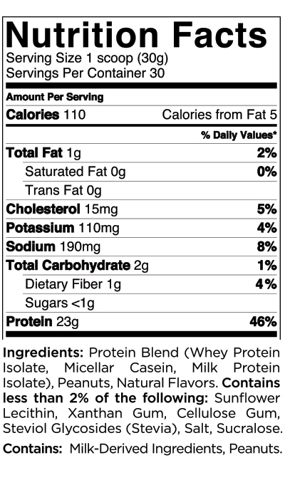 Quest Nutrition Peanut Butter Protein Powder Nutrition Label