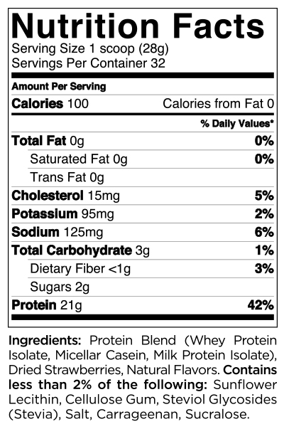 Quest Nutrition Strawberry Protein Powder Nutrition Label