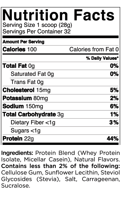 Quest Nutrition Vanilla Protein Powder Nutrition Label
