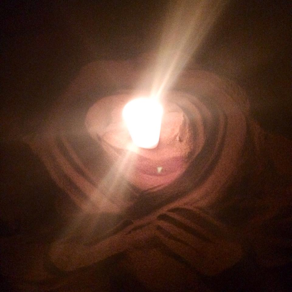 Night 6: Cory's candle in Ventura Beach.