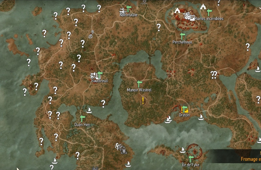 Each question mark on this small portion of The Witcher 3 map is a secret waiting to be discovered...