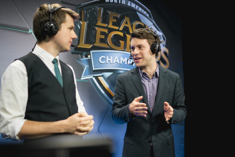 "Julian ""Pastrytime"" Carr (R) and Josh ""Jatt"" Leesman during a cast of the North America League of Legends Championship Series (courtesy of Riot Esports)"