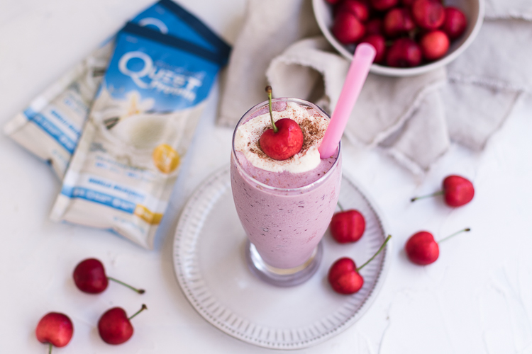 Cool Your Cravings with this Protein Packed Cherry Vanilla Milkshake
