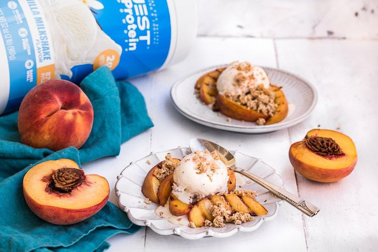 You Won't Believe These Grilled Peaches and Vanilla Streusel are Filled with Protein!