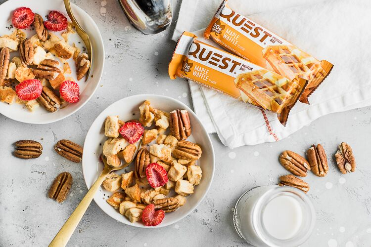 Transform Your Maple Waffle Protein Bars Into a Craveable Breakfast Cereal!