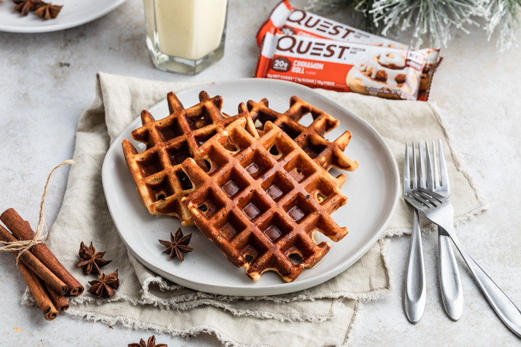 'Tis the Season to Devour these Eggnog Cinnamon Roll Waffles